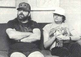 Rock Candy Mag's Xavier Russell (right) hanging with Dave Hlubek in New York, December 1984
